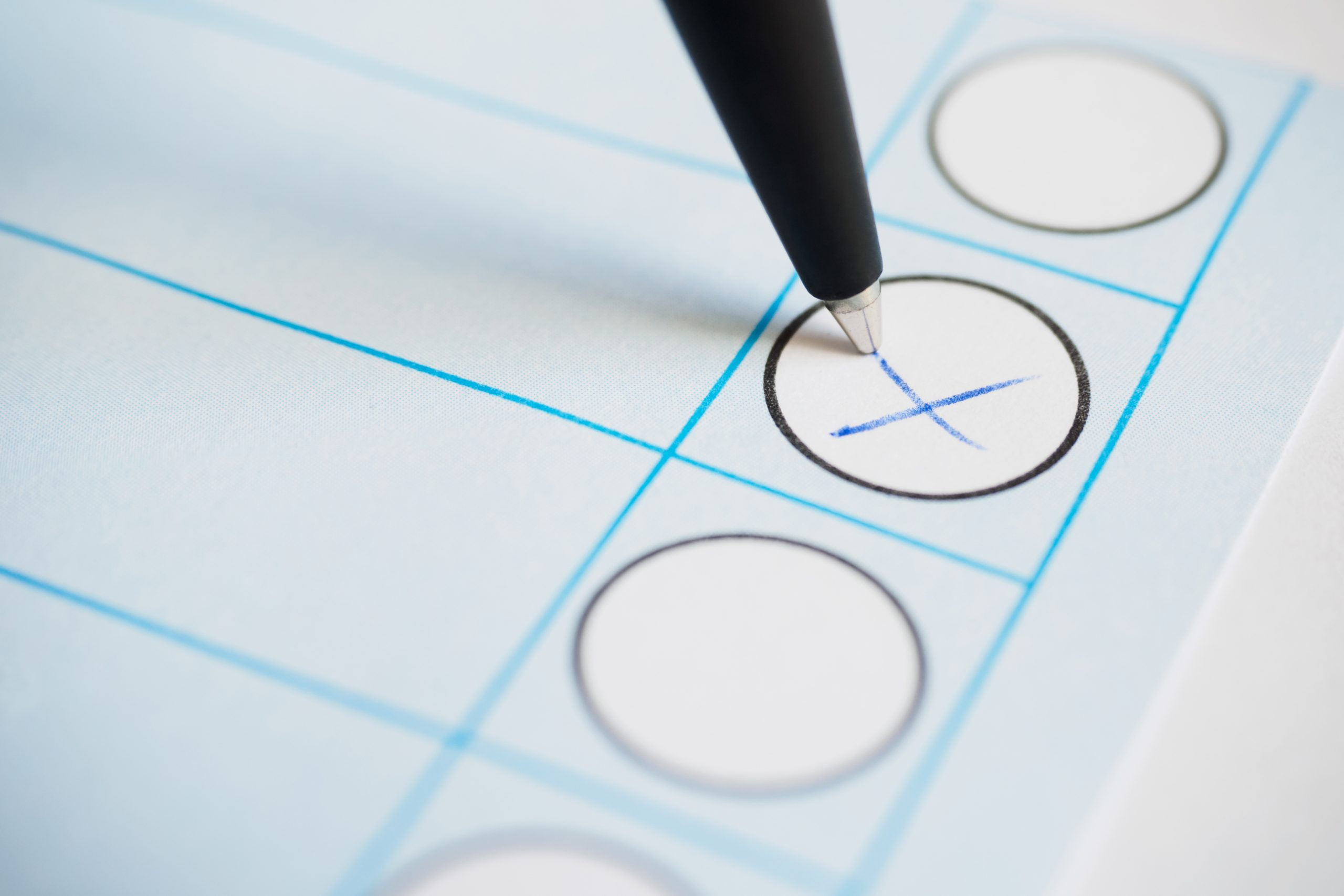 Voting paper or ballot paper with pen